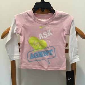 Nike Ask My Agent pink white Long Sleeve Shirt 12M